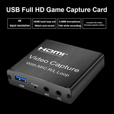 60hz HDMI Video Capture Card Portable For Live Streaming Game Recording With Mic • 14.36£