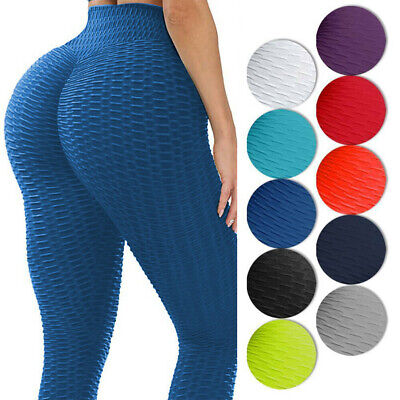 Women Gym Anti-Cellulite Yoga Pants High Waist Fitness Butt Lift Ruched Leggings • 13.29£