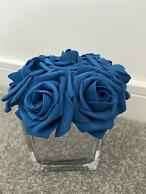 Faux Navy Royal Blue Roses Rose Flowers In Silver Mirrored Glass Cube Vase Pot • 19.99£