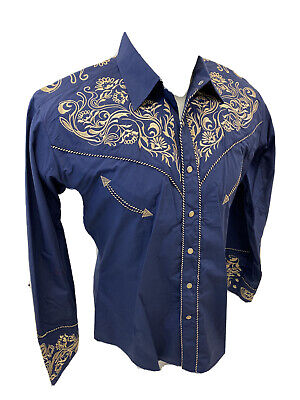 $29.99 • Buy Men RODEO WESTERN COUNTRY BLUE BROWN STITCH TRIBAL Button Shirt Cowboy 04490 NWT