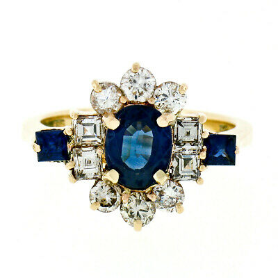 AU2966.75 • Buy 14k Gold 2.45ctw GIA Oval Sapphire Solitaire Square & Round Diamond Cluster Ring