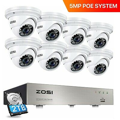 ZOSI PoE CCTV System 5MP 8CH NVR 2TB HDMI Home Security IP Camera Outdoor Dome  • 419.99£