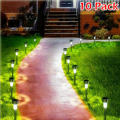 10 X Solar Power LED Stake Lights Patio Outdoor Garden Lawn Path Lamp White • 8.99£