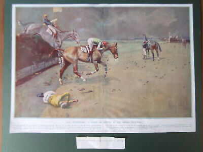 £18.99 • Buy LIONEL EDWARDS  THE AFTERMATH GRAND NATIONAL RACING PRINT LARGE 1924 47cmx34cm