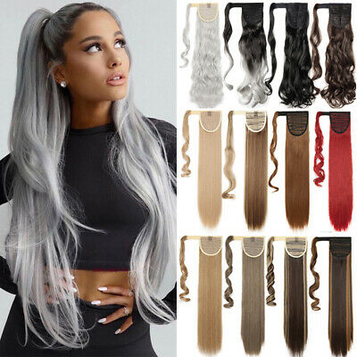 £9.52 • Buy Long Thick Natural Grey Ponytail Clip In Hair Extensions Pony Tail Long As Human