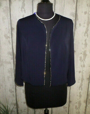 £8.05 • Buy NEW Navy Sequin Trimmed Three Quarter Sleeve Stretch Jersey Occasion Shrug Sz 18