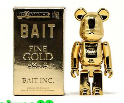 $399 • Buy Medicom 100% Bearbrick ~ BAIT Be@rbrick Gold Bar 999.99 W/ Banksy Kusama Print