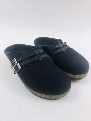 HAFLINGER Grizzly Black Clogs Size 40 / 9 Womens Sandals Slippers Wool Mule MINT • 50.08£