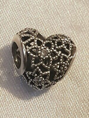 Pandora Black And Clear Cubic Zirconia Heart Sterling Silver Bead Charm ALE S925 • 24.99£