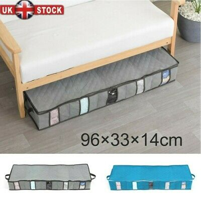 5 Compartments Under Bed Storage Bag Large Capacity Clothes Shoes Organizer Box • 6.79£