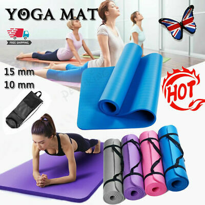 AU17.88 • Buy 10/15MM Thick Yoga Mat Pad NBR Nonslip Exercise Fitness Pilate Gym Durable AU