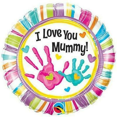 Mothers Day I Love You Mummy Handprints Foil Round Balloon Decoration 18 Inch • 2.95£