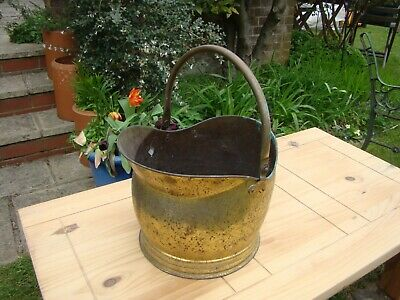 Vintage Large Heavy Brass / Copper? Helmet Coal Scuttle Jardiniere Planter Garde • 32£