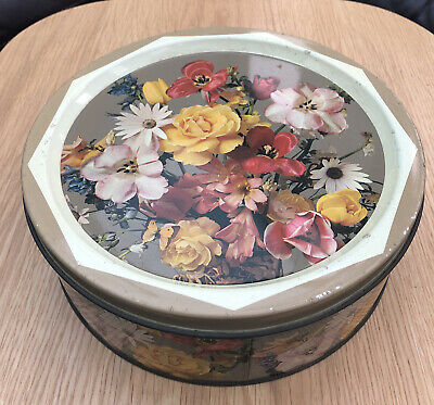 £9.99 • Buy Vintage John Mackintosh & Sons  Norwich Biscuit Tin With Flowers Decoration