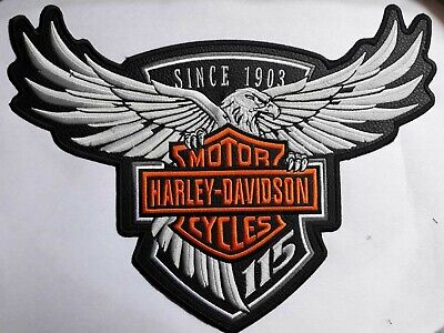 $ CDN31.72 • Buy Harley Davidson Patch Silver Eagle 1 Piece Patches For Jacket Free Shipping