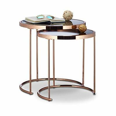 Round Nesting Tables, Chrome Frame, Set Of 2, Modern Design With Frosted Glass • 160.99£