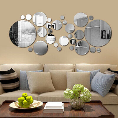 3D Home Circle Mirror Tiles Wall Stickers Self Adhesive Bedroom Art Decorations • 4.99£