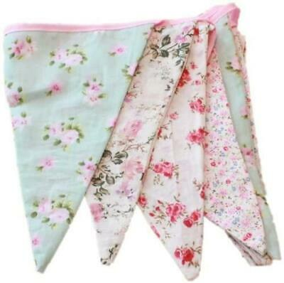 £6.99 • Buy Vintage Floral Party Bunting 100% Cotton Double Sided Bunting 3m