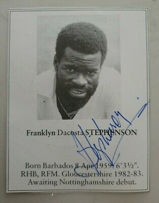 AU25 • Buy Franklyn Stephenson Rare Signed Book Plate Pen Picture West Indies Cricket Rebel