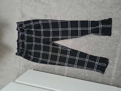 £5 • Buy Black Checkered  Paperbag Trousers