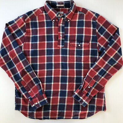 £24.78 • Buy Gant Rugger The Pullover Red Blue Check Plaid Long Sleeve Shirt Mens Size Large