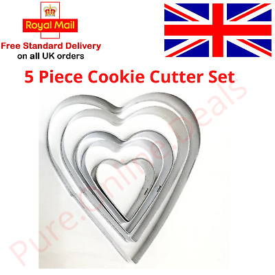 Heart Cookie Cutter Set Of 5 Biscuit Dough Icing Pastry Shape Cake Baking DIY UK • 3.94£