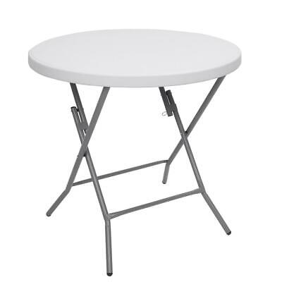 Folding Round Table 80cm 2.6FT Portable Camping Trestle Picnic Party BBQ Outdoor • 49.99£