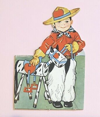 Vintage 1940s Fold Out Boy W/ Wooden Horse Die Cut Valentine Card  • 3.61£