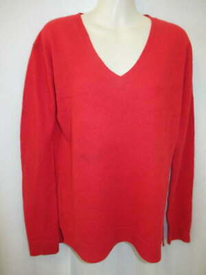 $16.95 • Buy 100% Cashmere Red  V-neck Fishtail Sweater May Fit M L