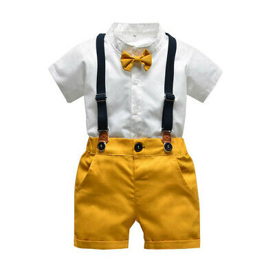 £12.99 • Buy Infant Baby Boys Gentleman Bow Tie T-Shirt Tops+Solid Shorts Overalls Outfits
