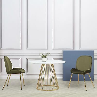 Round Marble Dining Table With Two Beetles Velvet Chairs Set Cosy Vibes  • 369.99£