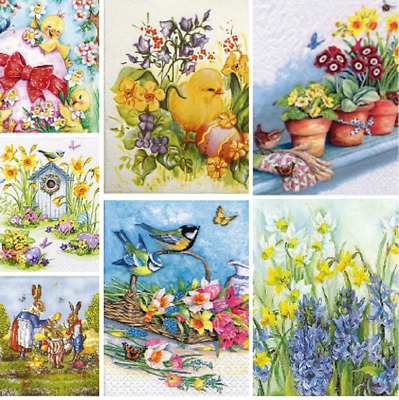 £2.77 • Buy Decoupage Easter Napkins X4 Spring Flowers Bunnies Chicks Napkin DISCOUNTS AVAIL