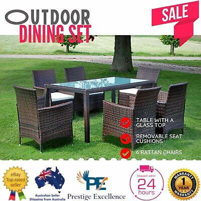 AU694.97 • Buy Dining Set Patio Outdoor Furniture PE Wicker Garden Table Chairs Setting Lounge
