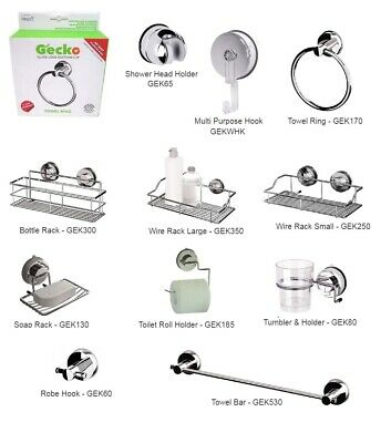 Gecko Bathroom - Super Suction Wall Accessories | No Drilling Required • 15.35£