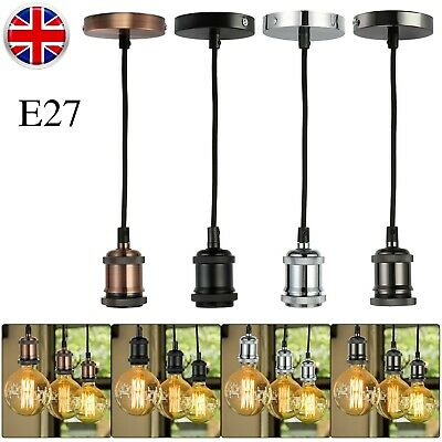Hot Light Pendant Fitting Ceiling Rose E27 Suspension Set 4-Colours Light Base • 8.99£