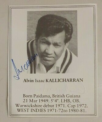 AU20 • Buy Alvin Kallicharran Signed Book Plate Pen Picture West Indies England Cricket