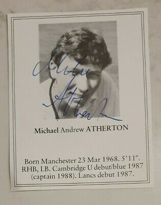 AU20 • Buy Rare Early Michael Atherton Signed Book Plate Pen Picture England Cricket