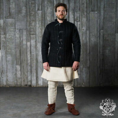 Medieval Gambeson Costumes Clothing Reenactment Coat Black Color Full Sleeves • 50£