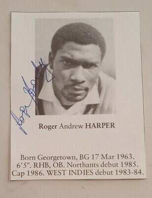 AU15 • Buy Roger Harper Signed Book Plate Pen Picture West Indies England Cricket