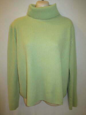 $14.95 • Buy Marconi 100% Cashmere Green Ribbed Knit Turtleneck Sweater M May Fit L XL