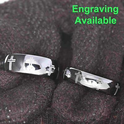 $29.99 • Buy White Tungsten His & Hers Wedding Ring Sets Religious Cross Eternity Engraved