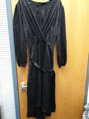 Quiz High Low Black Shiny Pattern Dress Size 22 Ref B3 • 17.50£