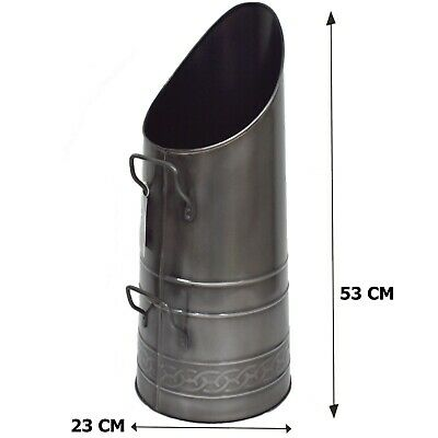 53cm Hod Coal Scuttle Pewter Finish Fire Place Accessory • 18.94£