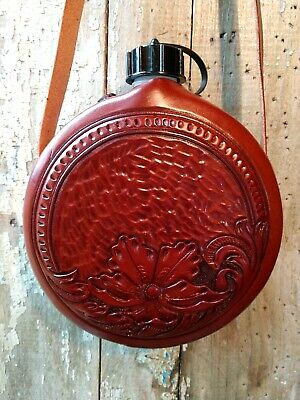 $ CDN93.87 • Buy Canteen Western Leather Floral Carved Cowboy Ranch Trail Riding Reenactment 2 Qt