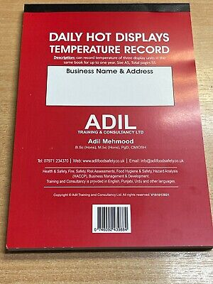 £6.99 • Buy Daily Hot Displays Temperature Record Log Book Food Hygiene HACCP Catering Pubs