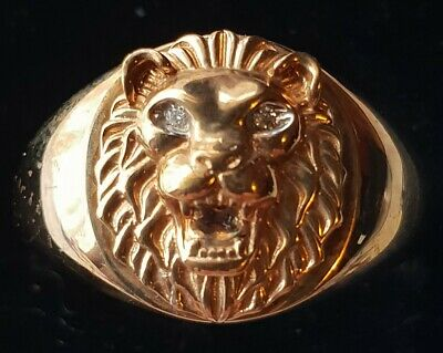 AU345 • Buy 9ct Gold And Diamond Lions Head Mens Ring 4.63grams