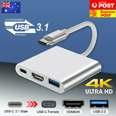 AU12.40 • Buy Type C To USB-C HDMI USB 3.0 Adapter Converter Cable 3in1 Hub For MacBook Pro AU