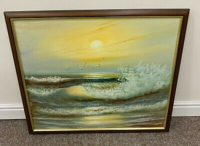Vintage Oil On Canvas Painting Of The Ocean Signed H. Bailey And Framed • 65£