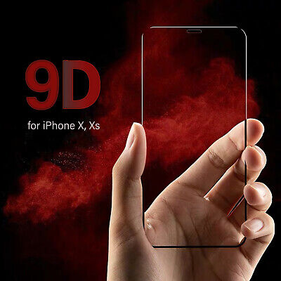Tempered Glass Screen Protector For Apple IPhone X/XS 9D Gorilla Full Film Black • 3.99£
