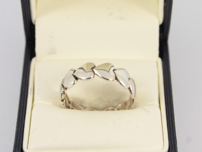 Heart Band Sterling Silver Ladies Ring Size U 1/4 925 4.5g Hq80 • 3.20£